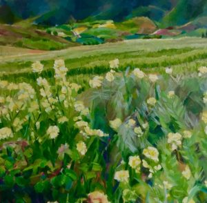 Artist Leonie Walton, Wheat Fields painting galicia spain Australian
