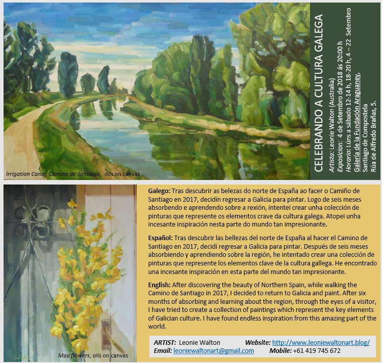 Art Exhibition invitation Santiago de Compostela galician paintings oleo pinturas australiana