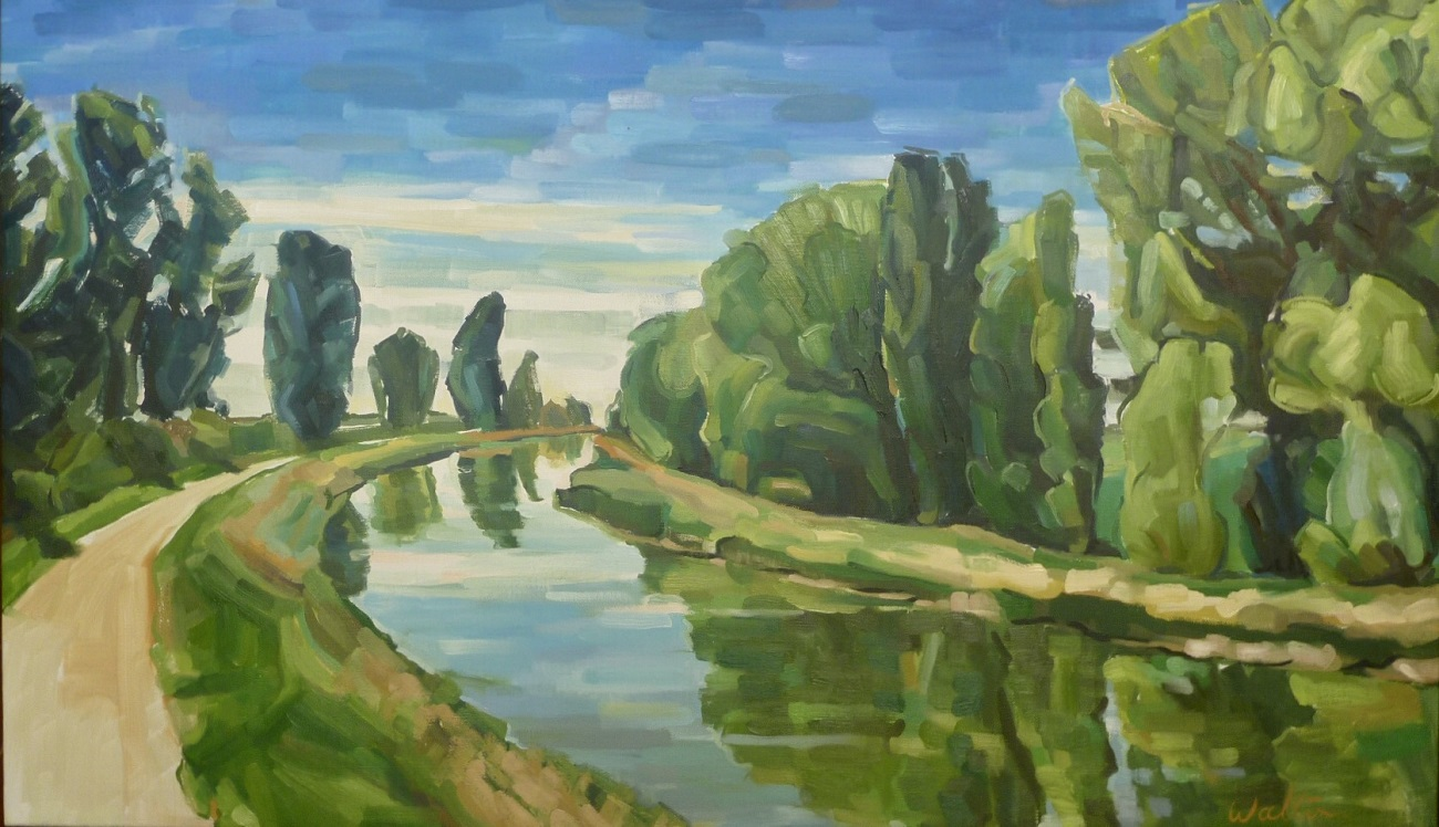 art exhibition, painting of irrigation canal, camino de santiago