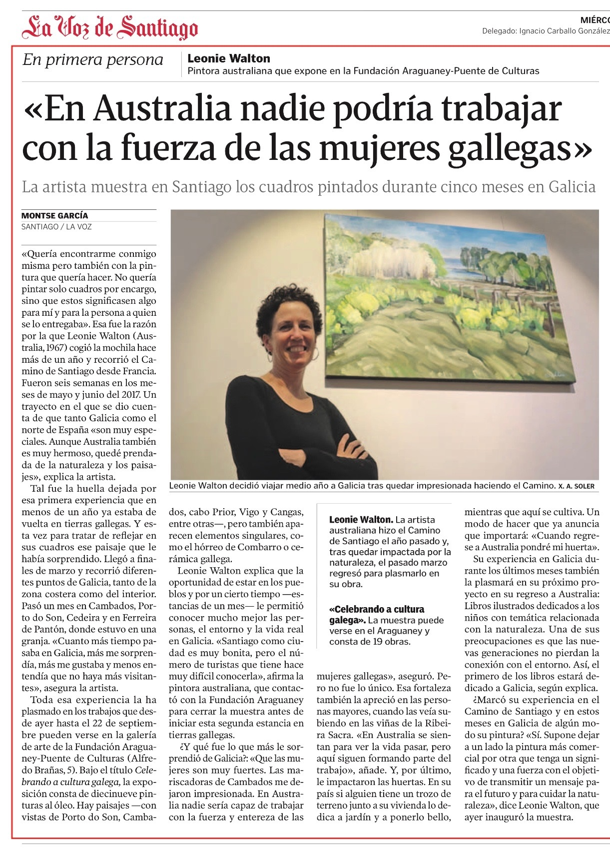 Press La Voz de Santiago Exhibition Galicia Leonie Walton Fundacion Araguaney