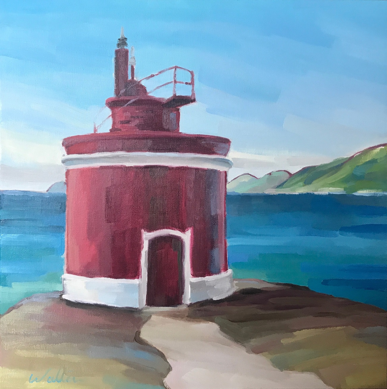 Art exhibition, painting lighthouse faro de Cabo Home Donon, Cangas, Galicia