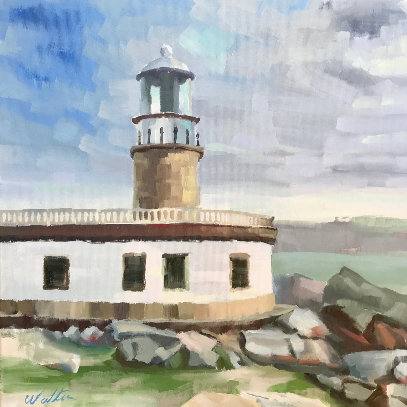 art exhibition, painting lighthouse faro de corrubedo, Galicia