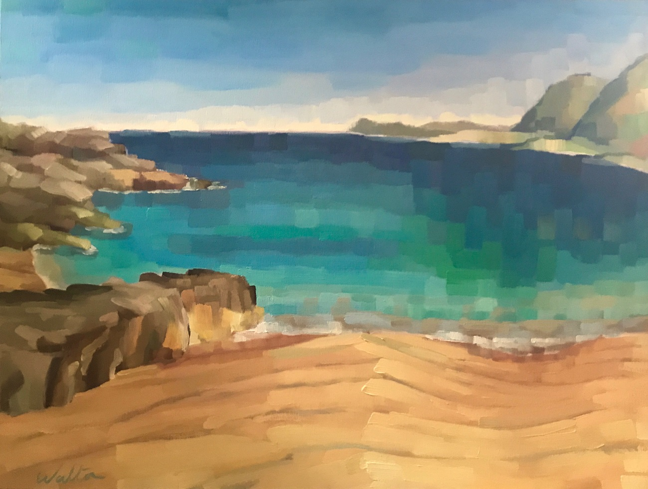 art exhibition, painting beach seascape, Monte Louro, Porto do son, Galicia, costa de morte
