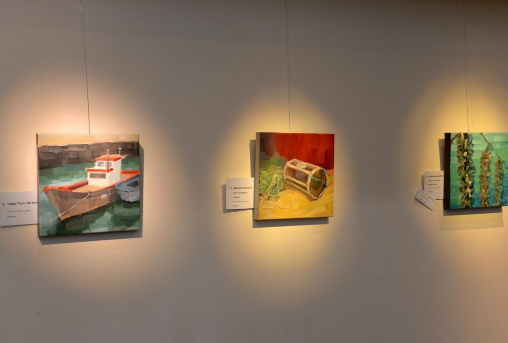 Fishing boat crab pot mussel farm Galicia paintings exhibition in Santiago de Compostela Fundacion Araguaney