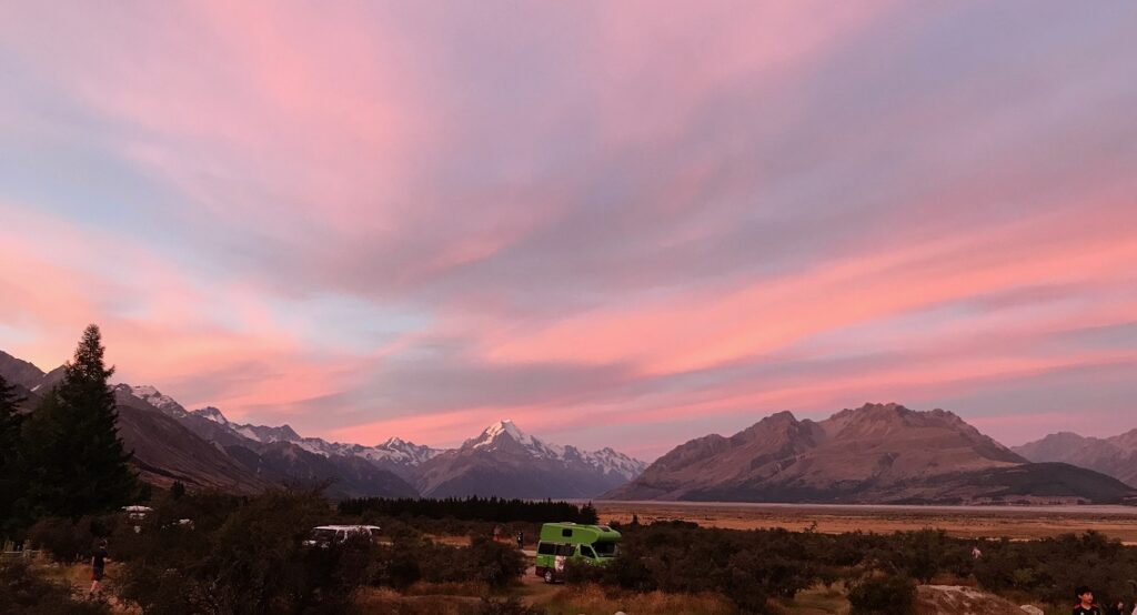 Sunset dusk Glentanner Aoraki Mt Cook National park image photo landscape