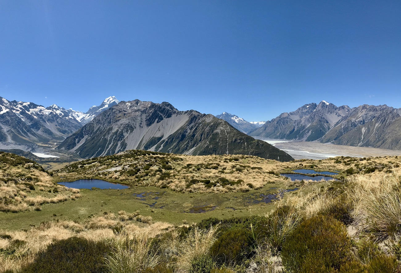 Hooker and Tasman Valley Aoraki Mt Cook National Park hiking trails landscape image photo