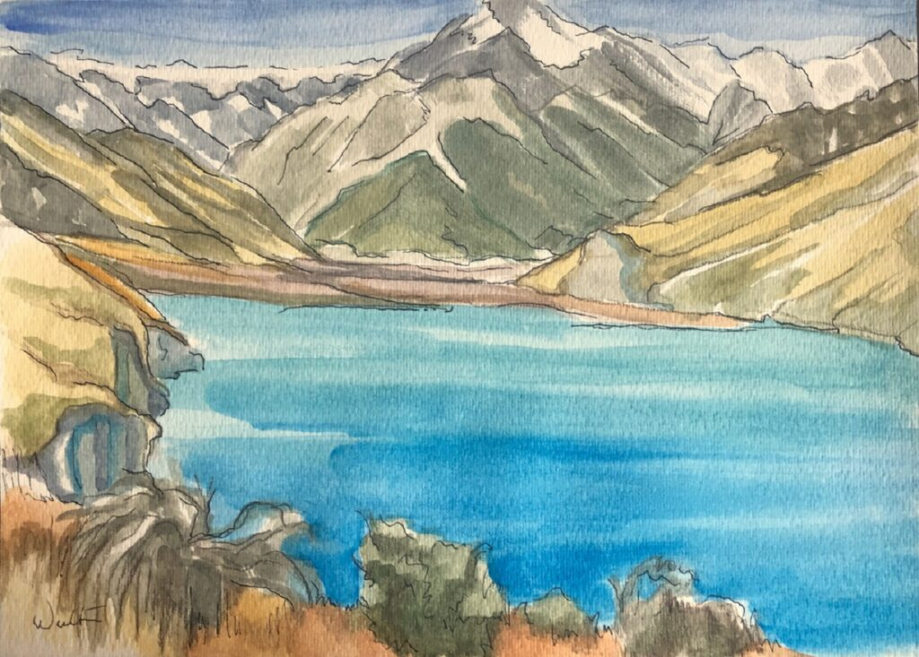 Lake Pukaki watercolour painting original artwork aoraki national park mt cook Leonie Walton