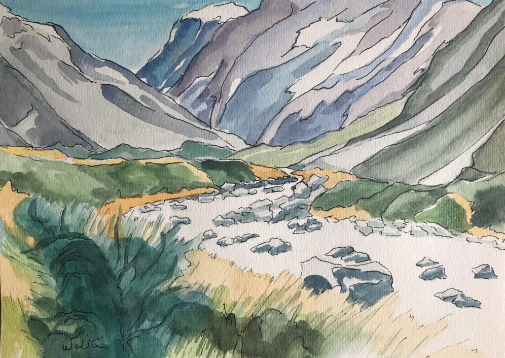 Watercolour painting Hooker River Valley Aoraki Mt Cook National Park hiking trail original artwork Leonie Walton