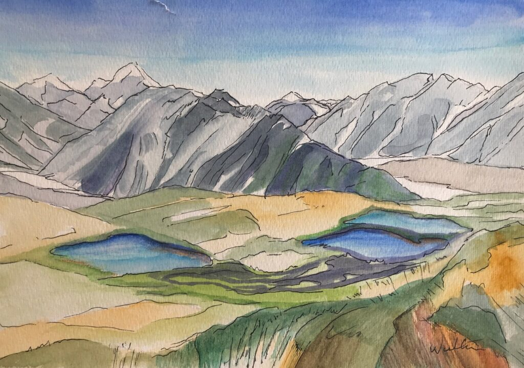 Watercolour painting Aoraki Mt Cook National Park original art Leonie Walton