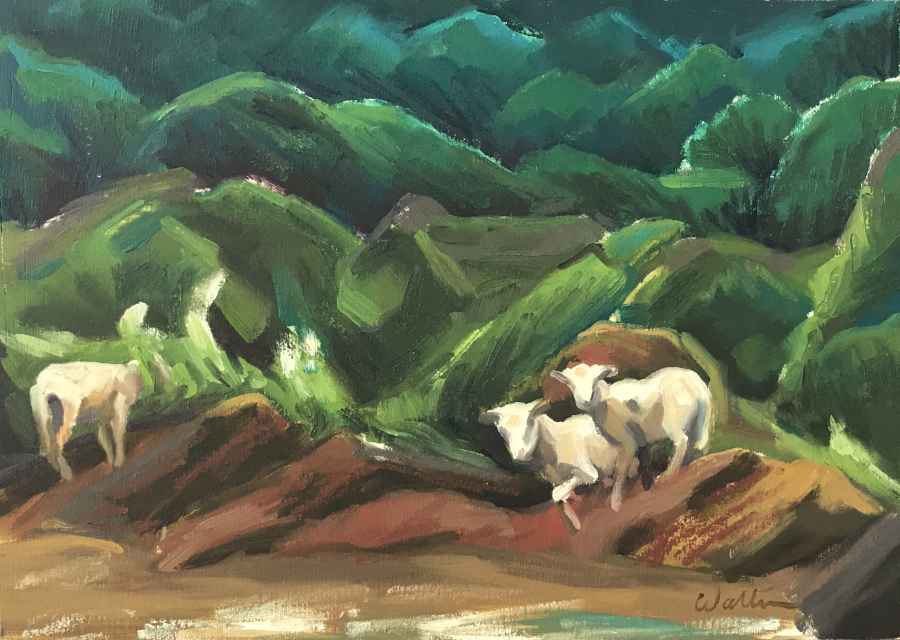 camino de santiago pilgrimage oil painting sheep animals goat art leonie walton artist australian landscape galicia spain