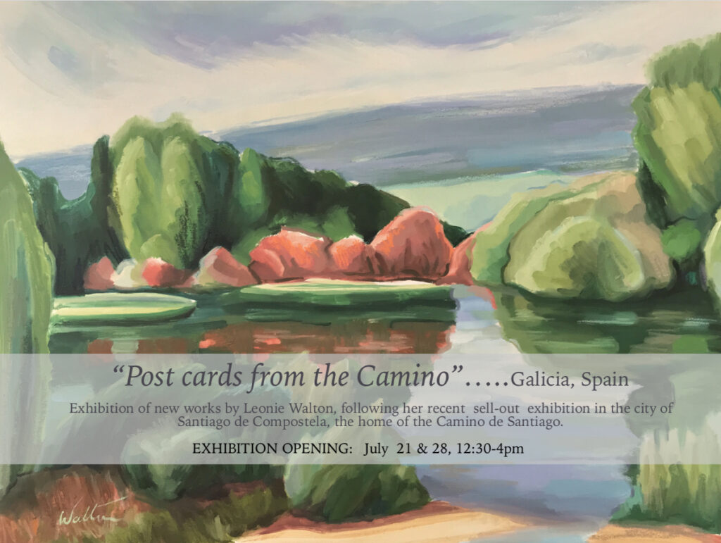 Art Exhibition Leonie Walton Sunshine Coast Noosa Artist of Camino de Santiago pilgrimage Galicia Spain collection oil paintings of Galicia and Australian Bush landscapes