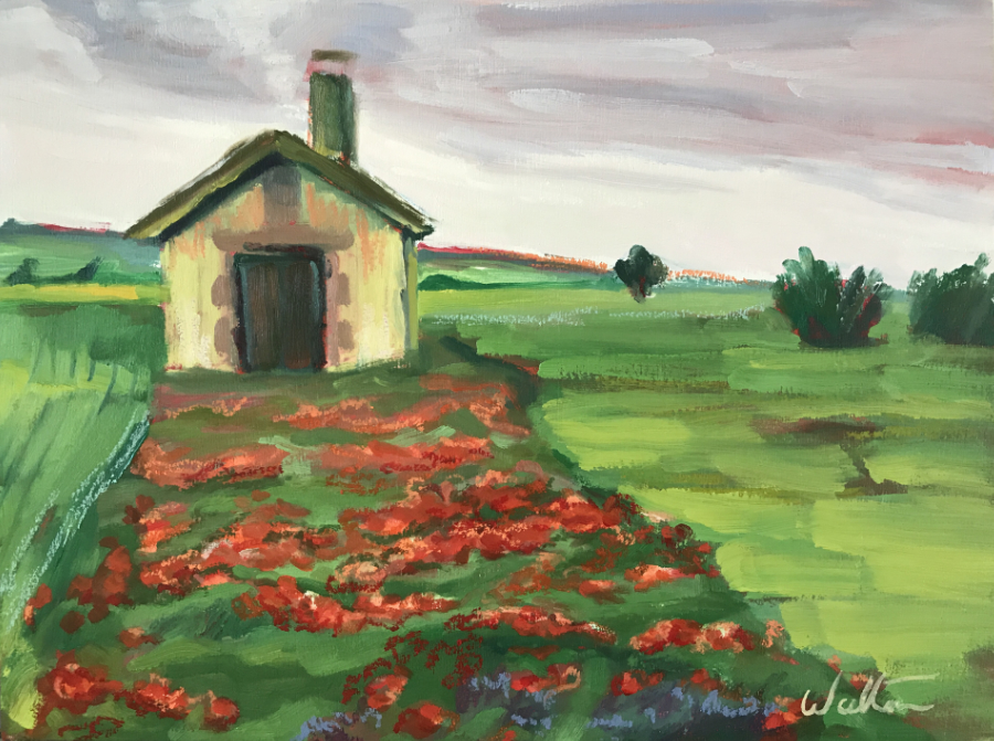 art path of poppies oil painting landscape on camino de santiago pilgrimage galicia spain by Australian artist Leonie Walton