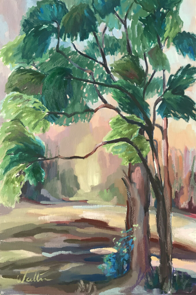 Australian bush landscape oil painting Lake Weyba Peregian Beach Sunshine Coast Noosa Queensland by artist Leonie Walton impressionist contemporary art